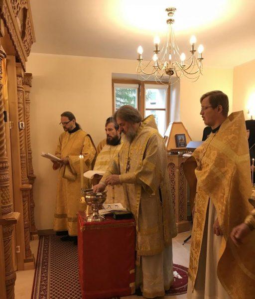 Освящение домового храма и первая литургия.